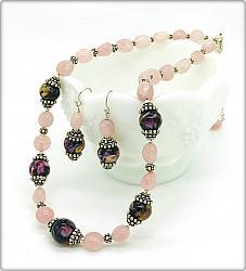 Pink Chalcedony Lampwork Set